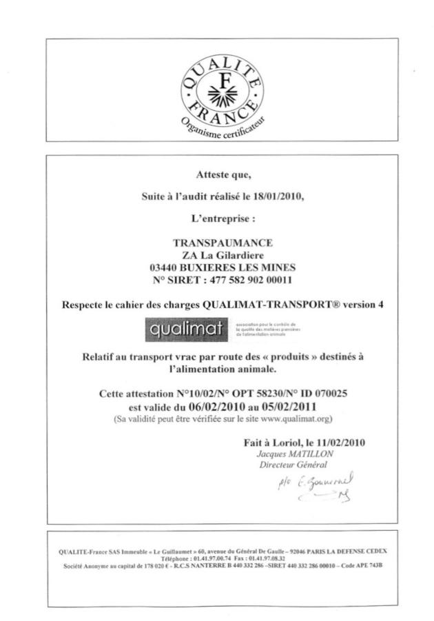 brevet qualimat tphl transpaumance